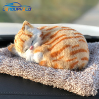 Car Ornament Cute Simulation Plush Sleeping Cat Lovely Toy Bamboo Charcoal Bag Clean Air Purifier Decoration