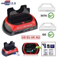 כל אחד מפרץ כפול 2.5 Inch 3.5 Inch HDD תחנת העגינה eSATA & USB 2.0 לide SATA שיבוט דיסק קשיח עגינה עם קורא כרטיסים