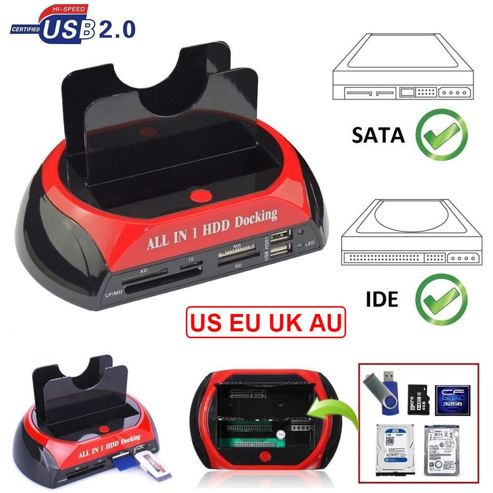All in One Dual Bay pulgadas 3,5 pulgadas 2,5 pulgadas HDD estación de acoplamiento eSATA y USB 2,0 a IDE SATA Disco Duro clonación acoplamiento con lector de tarjetas