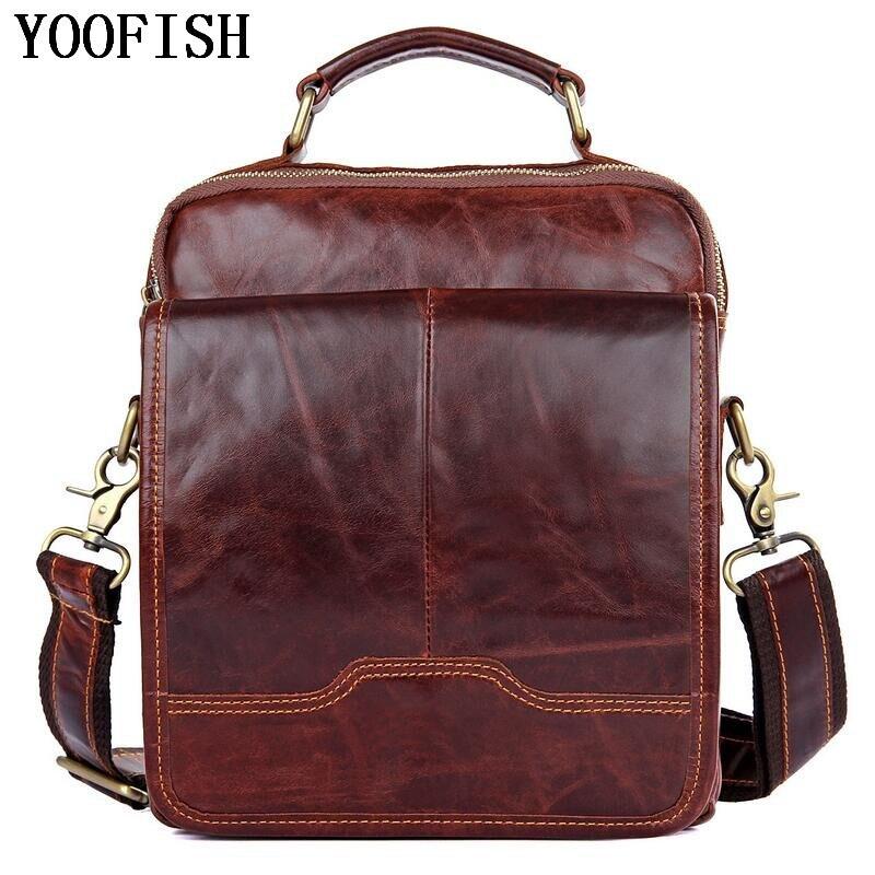 купить YOOFISH Genuine Leather Men Business Single Shoulder Bag Fashion Casual Messenger Bags Male Tote Handbag Luxury Briefcase по цене 4513.67 рублей