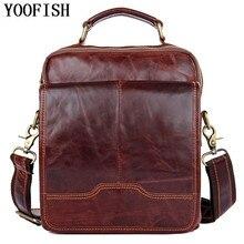 YOOFISH  Genuine Leather Men Business Single Shoulder Bag Fashion Casual Messenger Bags Male Tote Handbag Luxury Briefcase