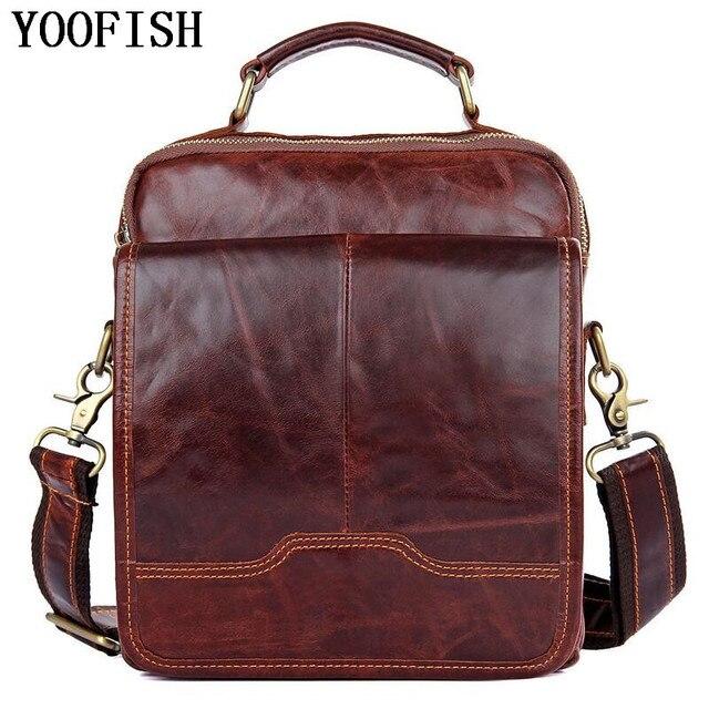 YOOFISH Genuine Leather Men Business Single Shoulder Bag Fashion Casual Messenger  Bags Male Tote Handbag Luxury 0c644756a4