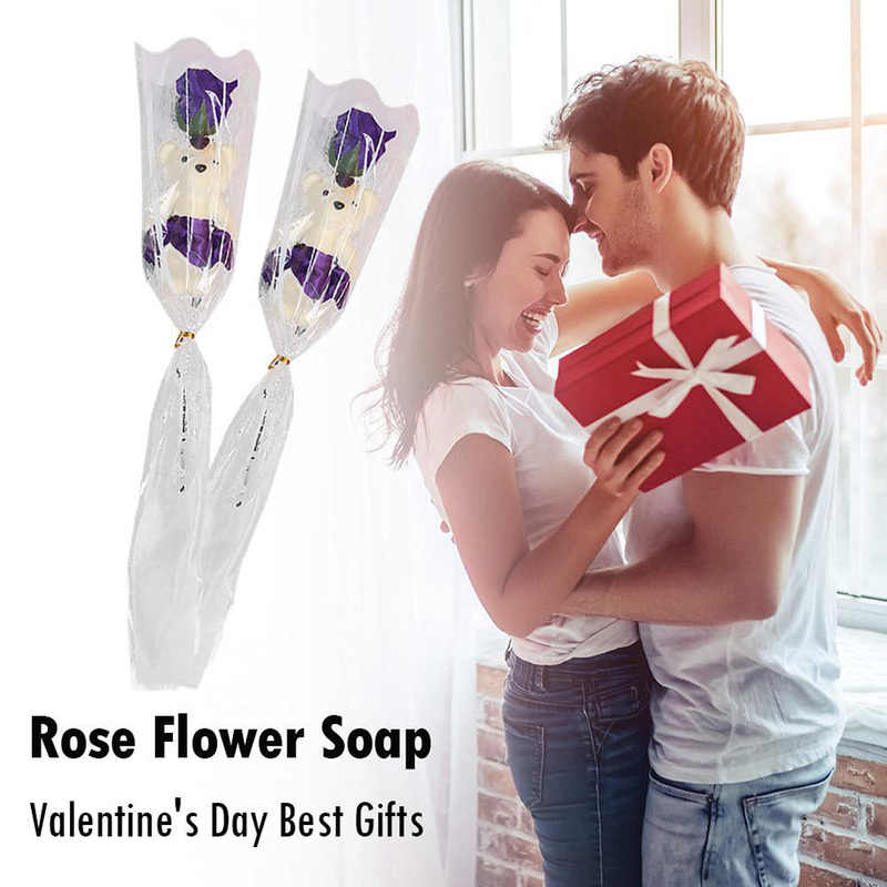 Single Bear Rose Flower Simulation Soap Flower Birthday Valentines Day Festive Party Wedding Favors Personalized Girlfriend Gift