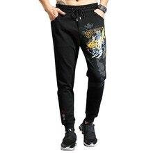 Осенние модные мужские Штаны для бега с рисунком рыбы, повседневные облегающие хлопковые спортивные штаны в стиле хип-хоп, винтажные уличные брюки