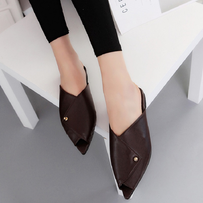 2017 spring and summer new fish mouth pointed soft leather flat single shoes wild casual fashion half slippers female