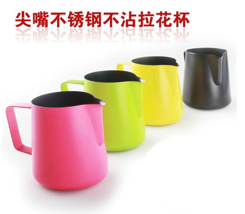 350ml / 12oz teflonový nepřilnavý povlak z nerezové oceli džbán na mléko / džbán na mléko pěnivý džbán / teflon pro luxusní kávovar pro baristy