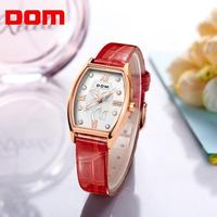 DOM Brand Quartz Watch For Women Fashion Waterproof Watches Simple Casual Leather Dress Lady Reloj Female