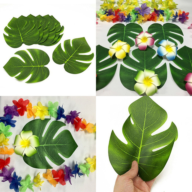 12pcs Artificial Tropical Palm Leaves for Hawaii Luau Party Decorations Beach Theme Wedding Table Decoration Accessories  sc 1 st  AliExpress.com & 12pcs Artificial Tropical Palm Leaves for Hawaii Luau Party ...