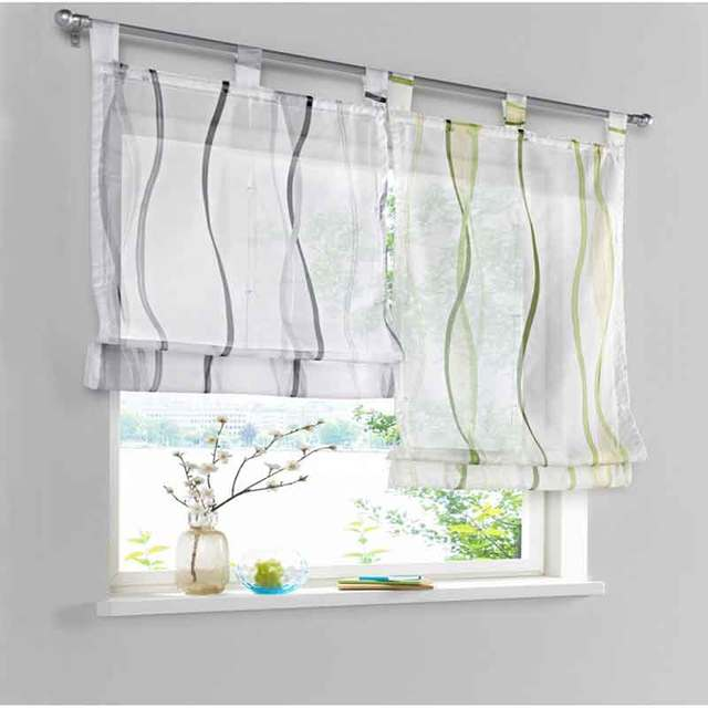 New Wave Pattern Digital Printing Process Roman Style Curtain Tie Up Window Kitchen