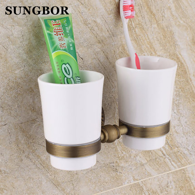 Cup&Tumbler Holders Wall Mounted Antique Bronze Finish Double Ceramic Cup Holder Bathroom Accessories Toothbrush Holder SY-4503F stainless steel double tumbler toothbrush holder cup bracket set wall mounted