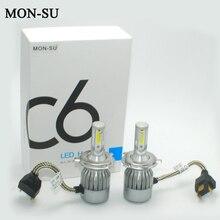 Фотография 2pcs H4 H7 LED Car Headlight Bulbs C6 Auto Led Bulb 72W COB H1 H3 H11 H27 H8 9005 9006 880 881 6000K Led Lamp 7600LM