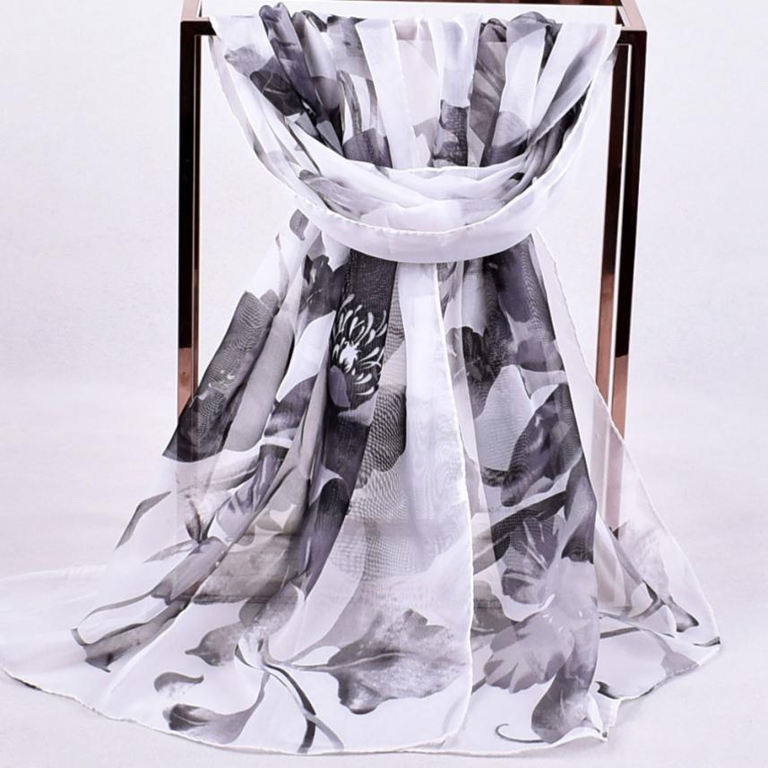 Women   Wraps     Scarves   Printed Soft Chiffon Shawl   Wrap     Scarf   Moistureproof Breathable   Scarves   Neckerchief Tippet Foulards Echarpe