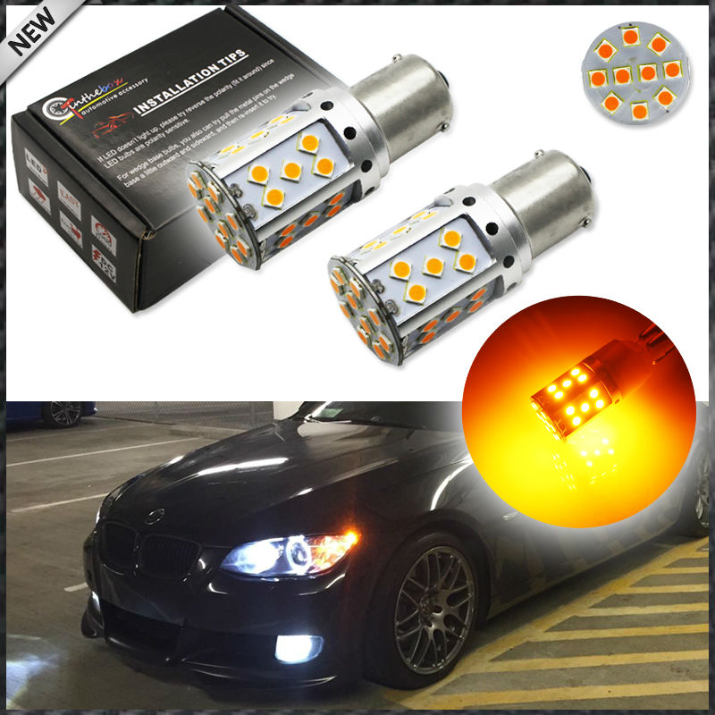 2pcs No Resistor Amber Yellow 3535 LED BAU15S 7507 PY21W 1156PY LED Bulbs For Front or Rear Turn Signal Lights (No Hyper Flash) 2 no resistor no hyper flash 21w high power amber bau15s 7507 py21w 1156py led bulbs for car front or rear turn signal lights