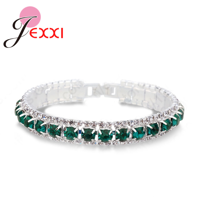 Chain Bracelet For Decoration Trendy Style 925 Sterling Silver CZ Cubic Zirconia Lovers' Best Gift Women Girls Party Engagement
