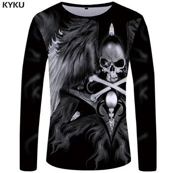 Skull Men Long sleeve shirt Wing Graphic Streetwear 3D Punk Leisure Clothes