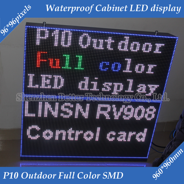 6pcs/Lot 960*960mm 96*96 pixels  Waterproof cabinet RGB 3in1 Outdoor SMD Full color P10 LED display screen6pcs/Lot 960*960mm 96*96 pixels  Waterproof cabinet RGB 3in1 Outdoor SMD Full color P10 LED display screen
