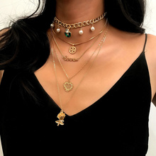 Ladies Multi-layer Alloy cross Pendant Collar Necklace Cross Pearl Sweate Chain Sweater Chain Necklace Jewelry стоимость