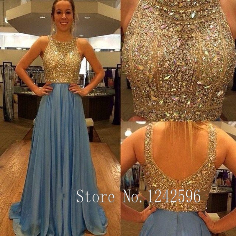 Vestidos De Noche 2017 New Ice Blue Prom Dresses With Gold Beaded Crystals  Long Chiffon Open Back Women Party Gowns For Weddings-in Prom Dresses from  ... 8d84c91a1