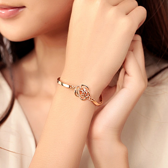 c1c1c860c0 Mossovy Charms Rose Flower Zircon Bracelet Bangles Vogue Bracelets  Jewellery for Lady Fashion Jewelry Womens Accessories