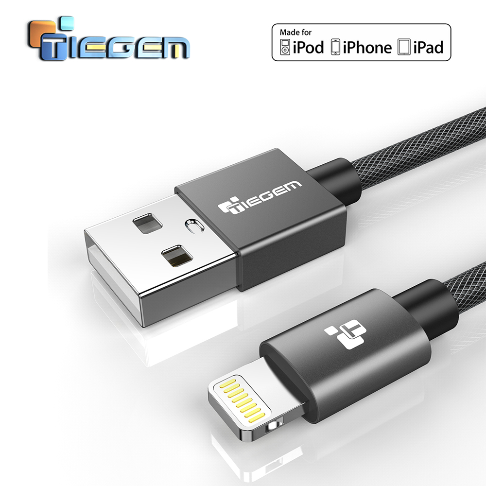 TIEGEM MFi USB Cable for iPhone X Xs Max XR 2.4A Fast Charging USB Charger Data Cable for iPhone Cable 8 7 6Plus USB Charge Cord