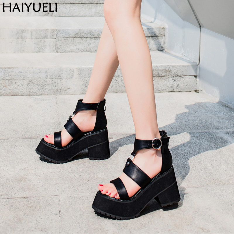 588b1ea22 9.5cm Square Heel Sandals Fashion Buckle Strap Women Sandals Casual Platform  Sandals Black Punk Harajuku Shoes Sandale Femme