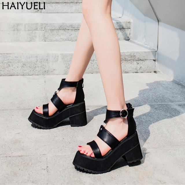 641dc04c661 9.5cm Square Heel Sandals Fashion Buckle Strap Women Sandals Casual  Platform Sandals Black Punk Harajuku Shoes Sandale Femme