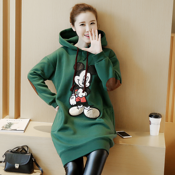 ФОТО Plus Velvet Cotton Maternity Hoodie Sweatshirt Fleece Tops Pullover Clothing Clothes For Pregnant Women Autumn Outerwear B399