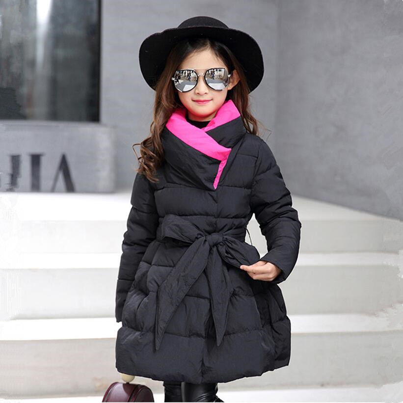 girls winter coat long parka outerwear children's winter jackets fashion bowknot black jacket girl kids clothes New year 2018 стоимость