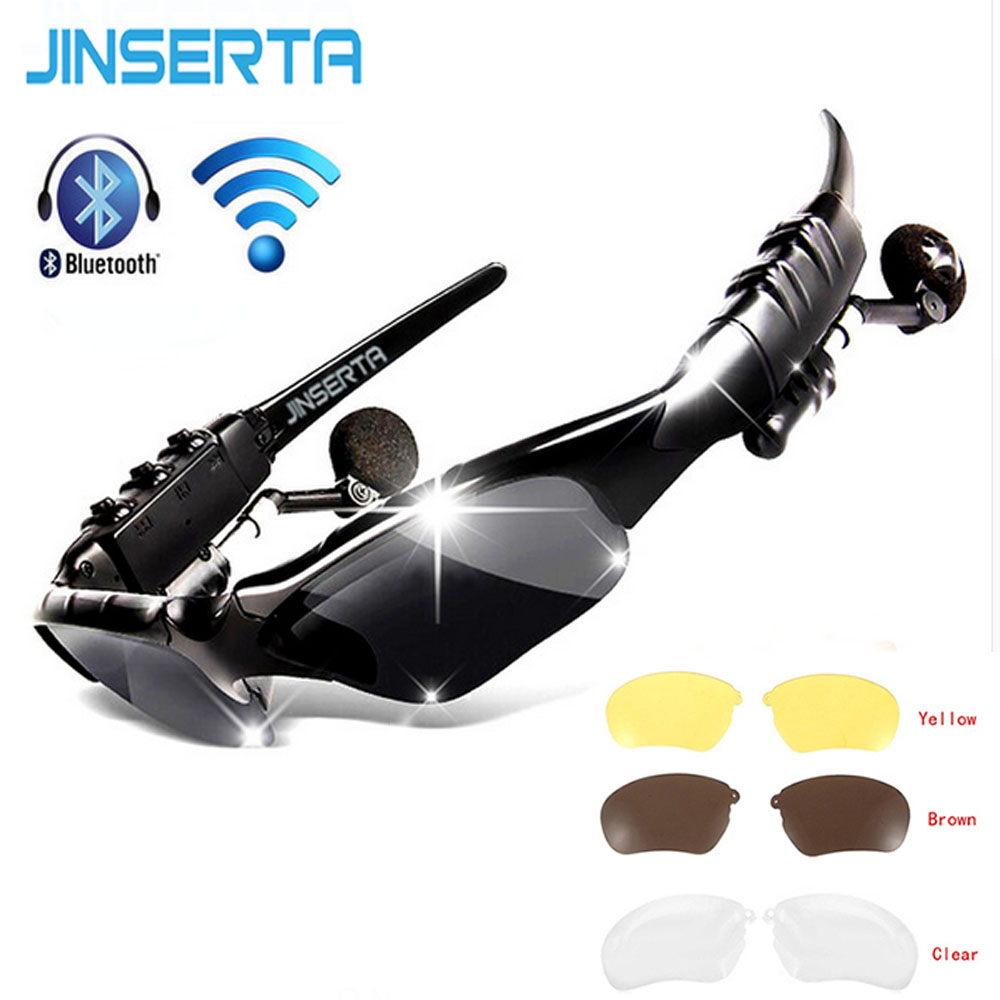 JINSERTA Sport Stereo Wireless Bluetooth Headset Sun lens Earphones Sunglasses mp3 Riding Glasses with Handsfree for lenovo sony