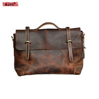 BJYL Retro Men handbags genuine leather men shoulder bag diagonal 14 Laptop bag business briefcase crossbody messenger bags
