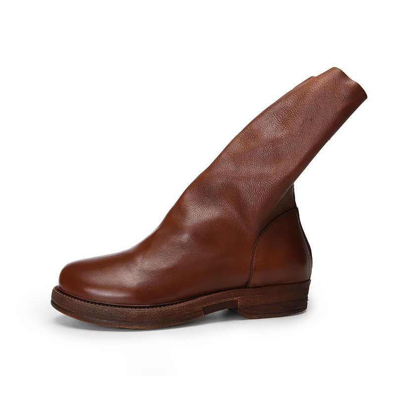 Vallu 2018 Da Thật Giày Bốt Nữ Giữa Bắp Chân Lưng Khóa Kéo Gót Vuông Thiết Kế Ban Đầu Tay Vintage Nữ Giày Thường