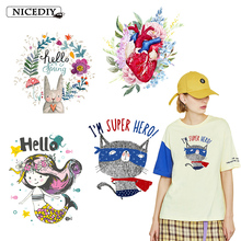Nicediy Lovely Rabbit Iron On Transfers For Clothes Heart Cat Mermaid Princess Patches DIY