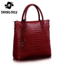 2016 Elegant Crocodile Pattern Genuine Leather Female Handbags New Brand Head Layer Cowhide Shoulder Bags