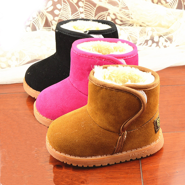 Winter Warm Plush Children Kids Boots Shoes Boy Girls,Baby Sneakers Snow Boots Flat Kids Criancas Sapatos 3 Colors S0626