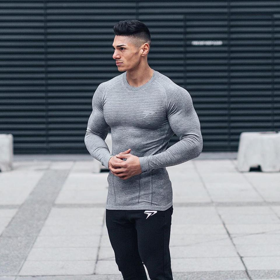 Brand Men fashion t shirt 2017NEW Spring summer Slim shirts male Tops Leisure Bodybuilding Long Sleeve personality tees clothing in T Shirts from Men 39 s Clothing