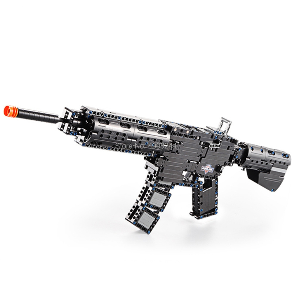 c81005 621pcs military weapons m4a1 rubber band gun building block Bricks Toy
