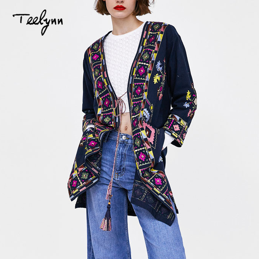 TEELYNN long boho jacket 2018 autumn ethnic embroidery long sleeve jacket navy linen cotton Hippie outerwear
