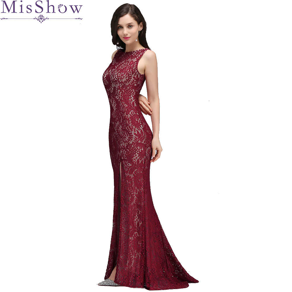 517469b3b En stock 2019 corte lateral largo sirena vestidos de noche Borgoña sin  espalda Formal vestido de