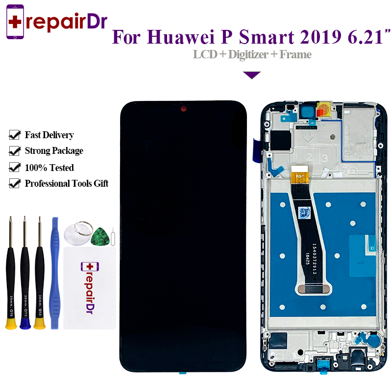 5PCS For Huawei P Smart 2019 LCD Display Touch Screen Digitizer Assembly With Frame Tested For