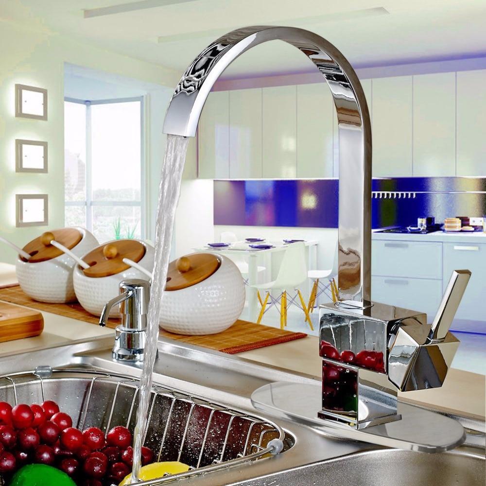 Chrome Brass Water Tap Kitchen Faucet Deck Mounted Torneira Cozinha Swivel Spray Basin Sink Hot And