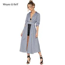 Weyes & Kelf Casual Open Two Button Plaid Women Party Dresses Long Sleeve V-neck Plaid Bodycon Dress women(China)