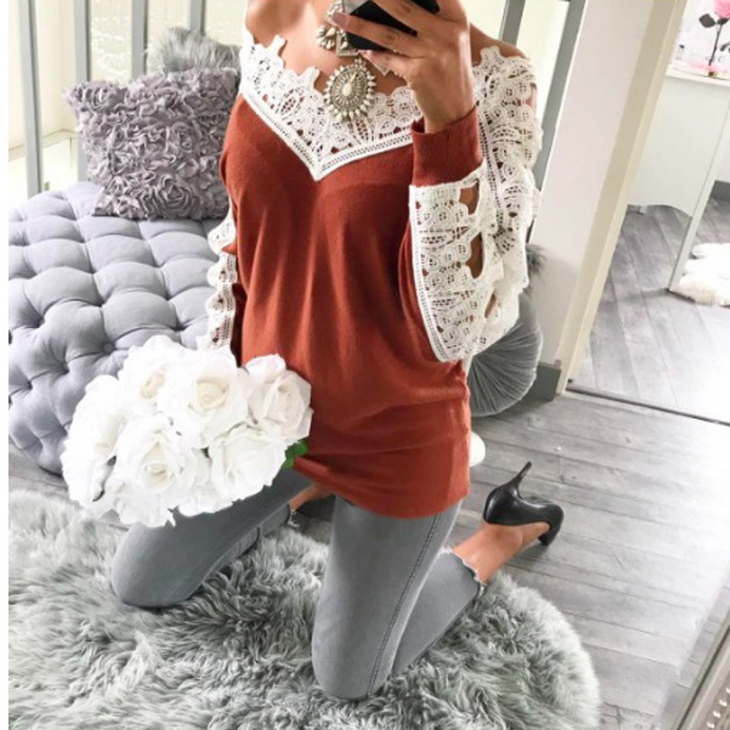 jumper Autumn 2017 Women long sleeve sexy sweater female Lace stitching casual wool bottoming sweater women sweater pullover