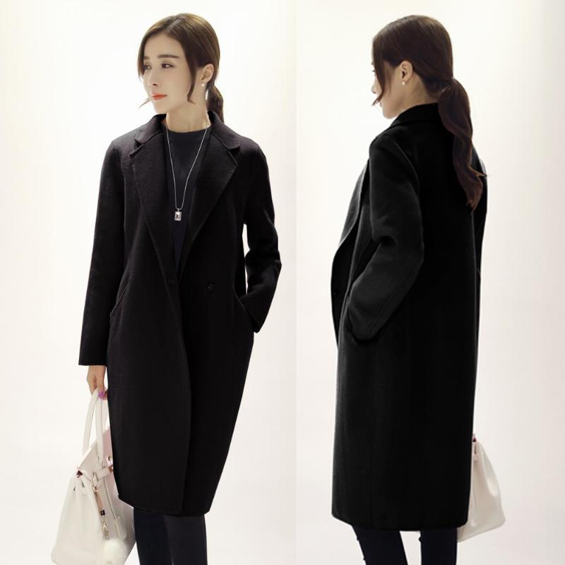 Women's Brazer Trench Cashmere Coats Grey Wool-like Winter Lapel Long Slim Jacket Design Warm Long Oversize Imitation Outwear
