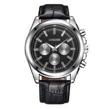 OUKESHI Negocio Relojes de Los Hombres de Alta Calidad de La Manera Ocasional de Cuarzo Relojes Hombre Relojes Correa de Cuero Del Relogio Impermeable masculino