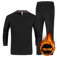 Male Youth Suit In Autumn And Winter With Thickened Round Neck Long Sleeved Sweater Cashmere Trousers