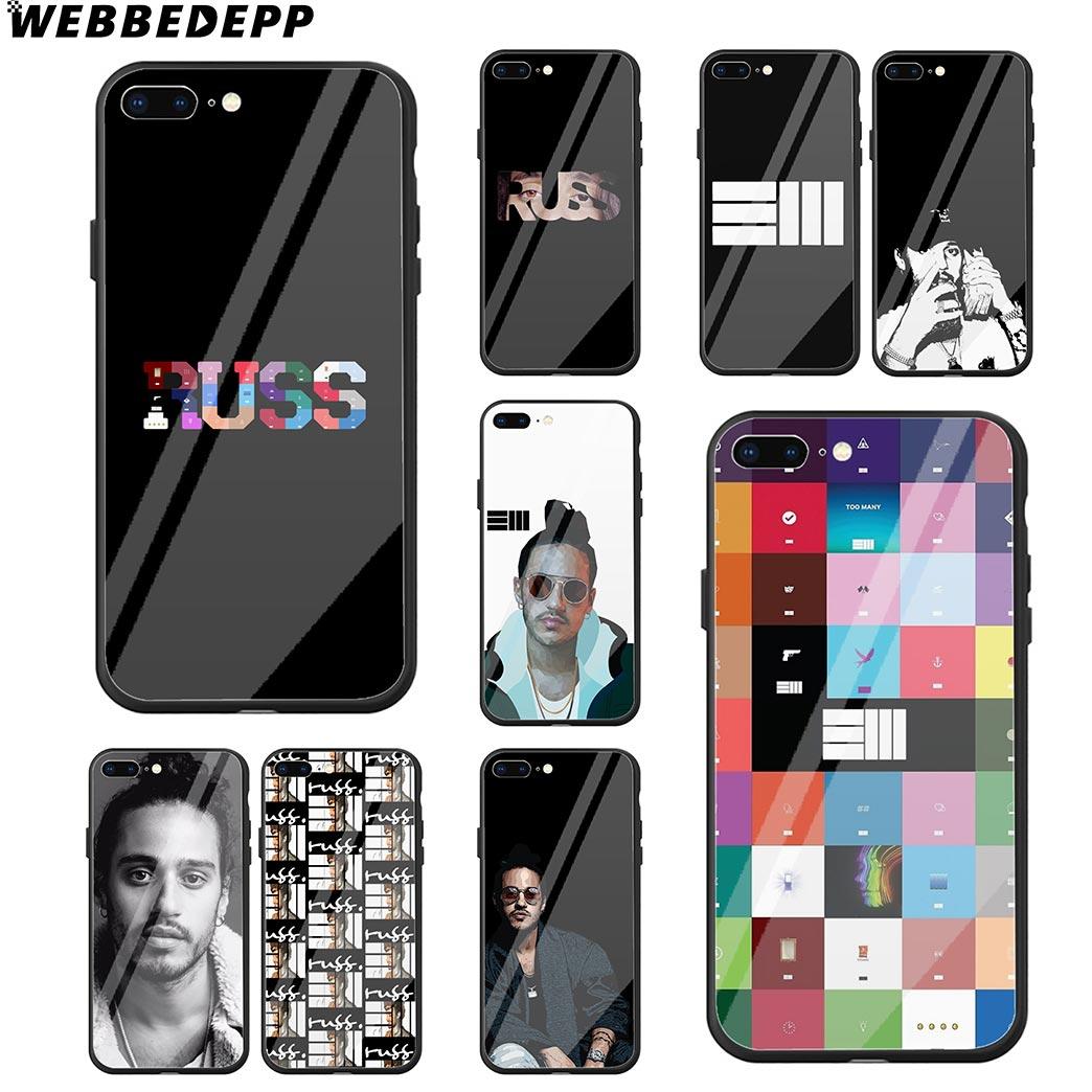 WEBBEDEPP Russ Diemon Rapper Tempered Glass Phone Case for Apple iPhone Xr  Xs Max X or 10 8 7 6 6S Plus 5 5S SE 7Plus
