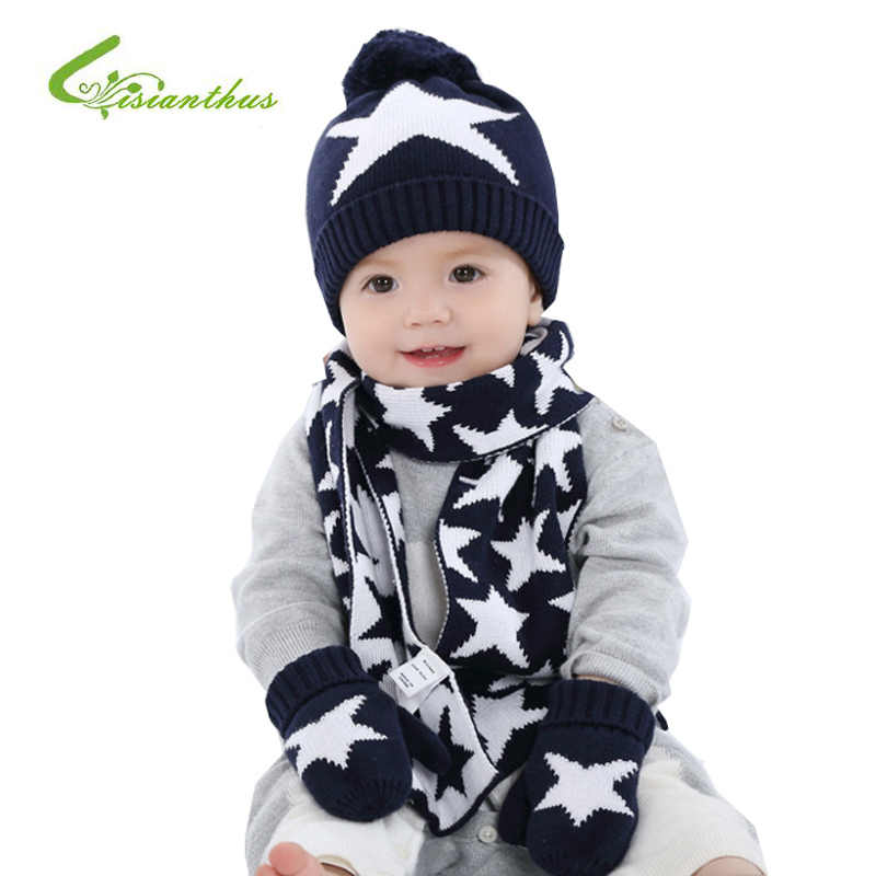 21da223368d 3 Pcs Winter Baby Hat with Scarf and Gloves Stars Crochet Knitted Cotton  Caps for Infant