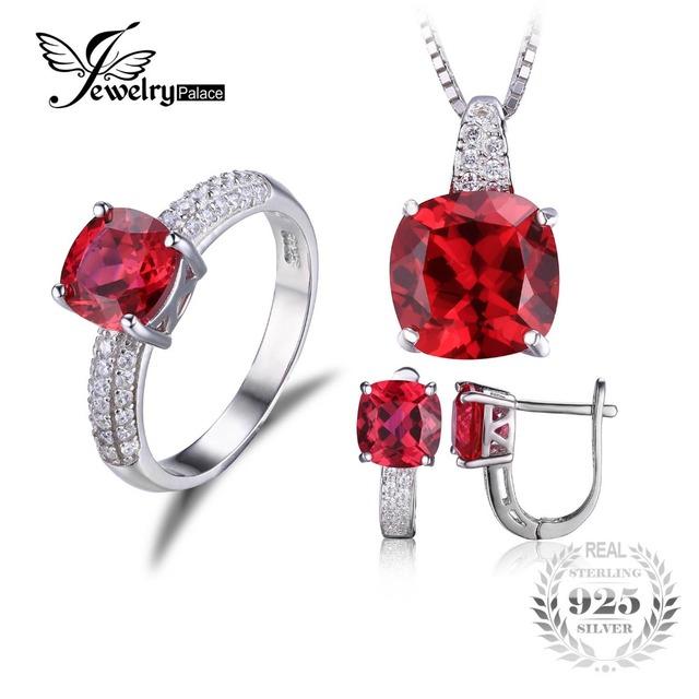 Jewelrypalace anel de rubi criado clipe colar brinco conjunto de jóias 925 sterling silver jewelry set fine jewelry para mulheres