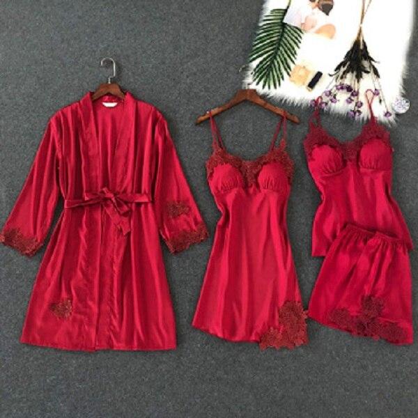 Herislim Women's Pajamas Robe+Suspender+Cami+Shorts 4pcs Satin Pajama Set Sexy Lace Pyjamas Sleepwear Elegant Nightie Homewear