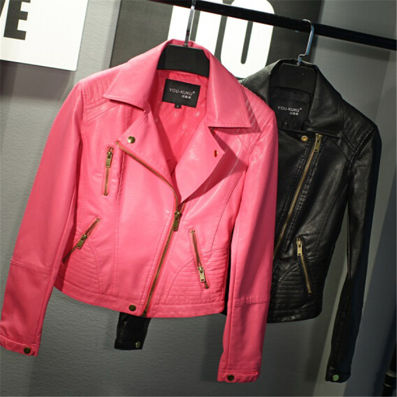 Black/Pink Leather Jacket Women 2015 Winter Short Biker PU Faux ...